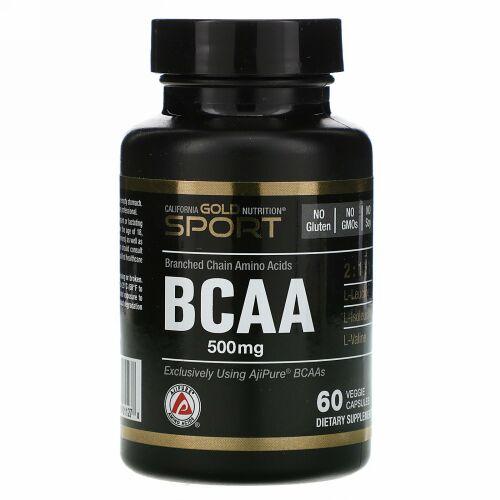 California Gold Nutrition, BCAA、AjiPure®(アジピュア)分岐鎖アミノ酸、500mg、植物性カプセル60粒