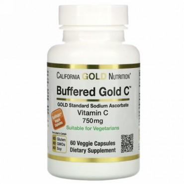 California Gold Nutrition, 緩衝ビタミンCカプセル、750mg、ベジカプセル60粒