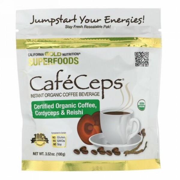 California Gold Nutrition, CafeCeps(カフェセップス)、冬虫夏草と霊芝キノコ粉末入り認定オーガニックインスタントコーヒー、100g(3.52オンス)