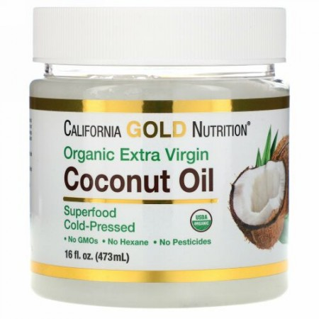 California Gold Nutrition, コールドプレスオーガニックバージンココナッツオイル、473 ml(16 fl oz)