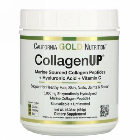 California Gold Nutrition, CollagenUP(コラーゲンアップ)、海洋性加水分解コラーゲン+ヒアルロン酸+ビタミンC、無香料、464g(16.36オンス)