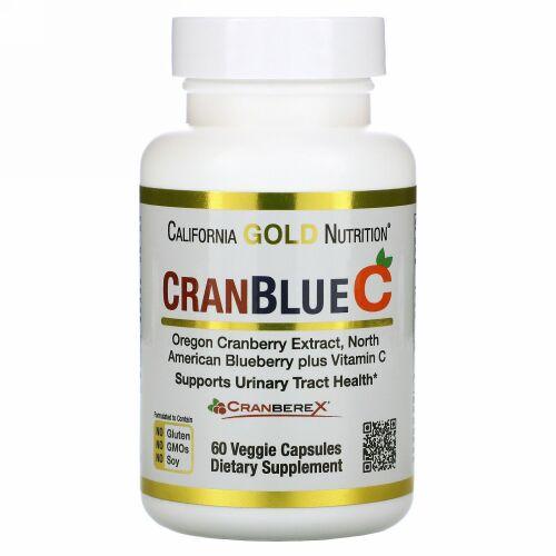 California Gold Nutrition, CranBlueC(クランブルーC)、クランベリー、ブルーベリー、ビタミンC、ベジカプセル60粒