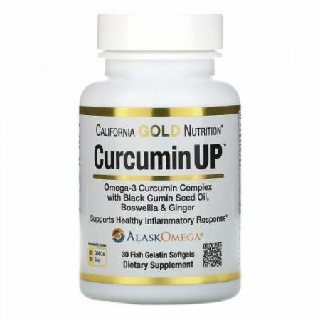 California Gold Nutrition, CurcuminUP(クルクミンアップ)、オメガ3クルクミンコンプレックス、炎症サポート、魚ゼラチンソフトジェル30粒
