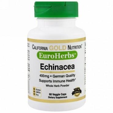 California Gold Nutrition, エキナセア、EuroHerbs、ホールパウダー、400 mg、60ベジカプセル (Discontinued Item)