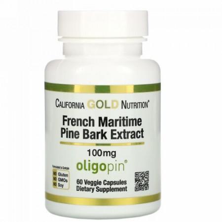 California Gold Nutrition, フランス海岸松樹皮エキス、オリゴピン、抗酸化ポリフェノール、100mg、ベジカプセル60粒