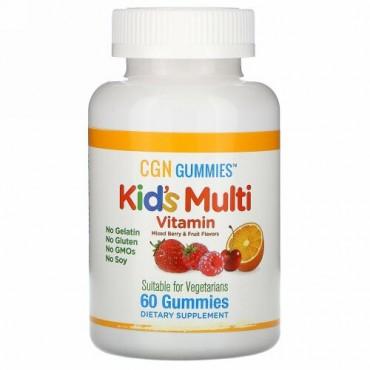California Gold Nutrition, 子ども用マルチビタミングミ、ゼラチン無添加、ミックスベリー&フルーツ味、グミ60粒