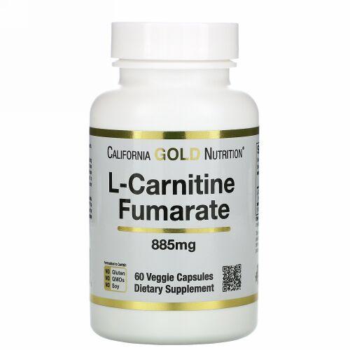 California Gold Nutrition, L-カルニチンフマル酸塩、ヨーロッパ産、Alfasigma社製、885mg、ベジカプセル60粒