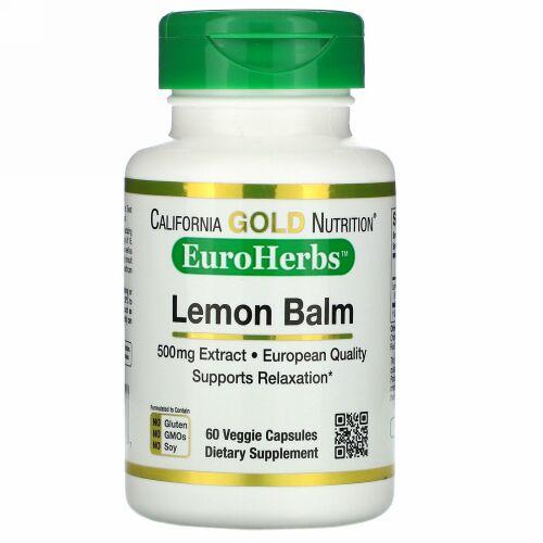 California Gold Nutrition, レモンバームエキス、ヨーロッパ品質、500mg、ベジカプセル60粒