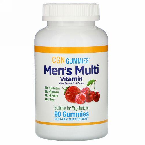 California Gold Nutrition, 男性用マルチビタミングミ、ゼラチン・グルテン無添加、ミックスベリー&フルーツ風味、グミ90粒