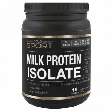 California Gold Nutrition, ミルクプロテインアイソレート、超低乳糖、グルテンフリー、16オンス (454 g) (Discontinued Item)