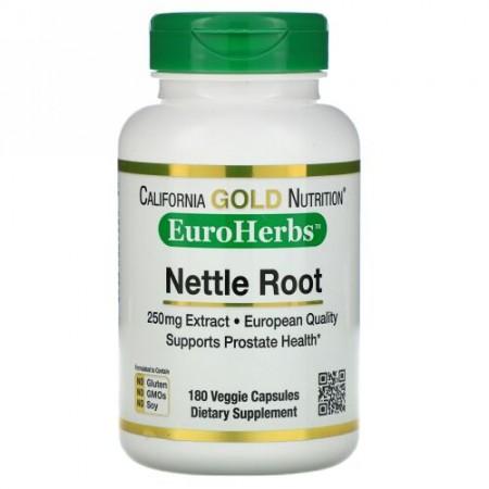 California Gold Nutrition, イラクサ根エキス、EuroHerbs、250 mg、180ベジカプセル (Discontinued Item)