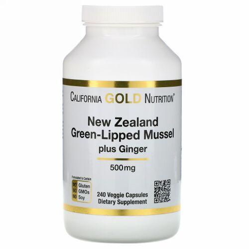 California Gold Nutrition, ニュージーランド、グリーンリップムールプラスジンジャー、ジョイントヘルスフォーミュラ、500 mg、植物性カプセル240粒