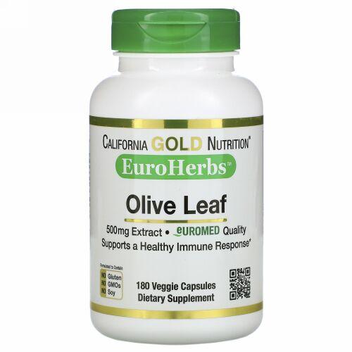 California Gold Nutrition, オリーブ葉エキス、EuroHerbs(ユーロハーブ)、ヨーロッパ品質、500mg、ベジカプセル180粒