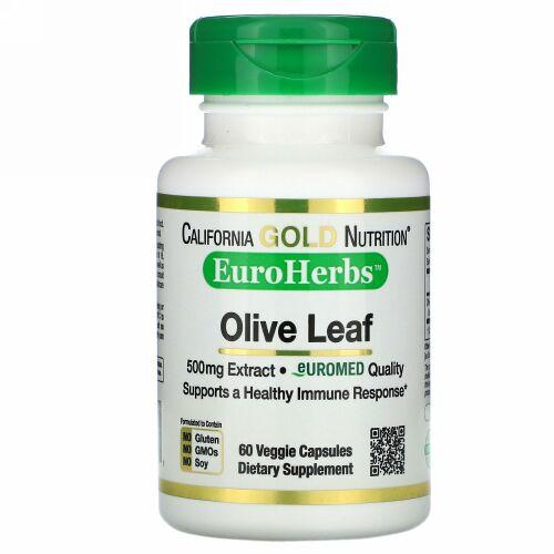 California Gold Nutrition, オリーブ葉エキス、EuroHerbs(ユーロハーブ)、ヨーロッパ品質、500mg、ベジカプセル60粒
