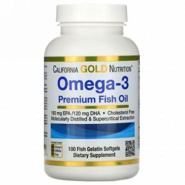 California Gold Nutrition, オメガ3、プレミアムフィッシュオイル、魚ゼラチンソフトジェル100粒