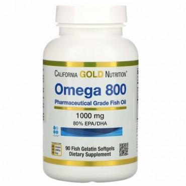 California Gold Nutrition, Omega 800 Pharmaceutical Grade Fish Oil, 80% EPA/DHA, Triglyceride Form, 1000 mg, 90 Fish Gelatin Softgels
