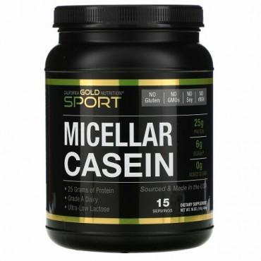 California Gold Nutrition, スポーツ、ミセラーカゼインプロテイン、無香料、タンパク質88%、ゆっくり吸収、消化しやすい、米国アイダホ州産のグレードA乳製品、454g(16オンス)