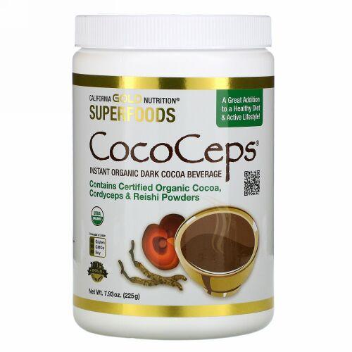 California Gold Nutrition, スーパーフード - CocoCeps(ココセップス)、オーガニックココア、冬虫夏草&霊芝、225g(7.93オンス)
