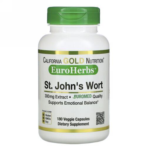 California Gold Nutrition, セントジョンズワートエキス、EuroHerbs(ユーロハーブ)、ヨーロッパ品質、300mg、ベジカプセル180粒