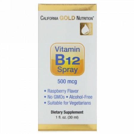 California Gold Nutrition, ビタミンB12スプレー、アルコールフリー、ラズベリー、500 mcg、1液量オンス (30 ml) (Discontinued Item)