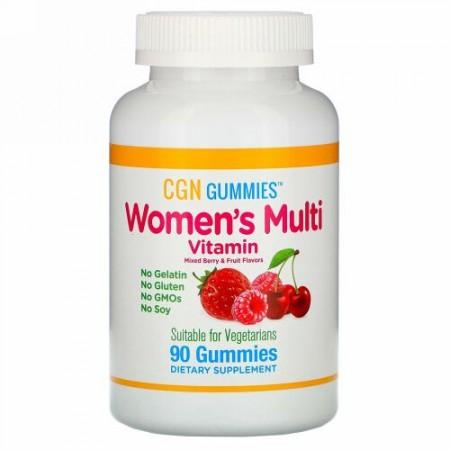 California Gold Nutrition, 女性用マルチビタミングミ、ゼラチンおよびグルテン無添加、ミックスベリー&フルーツ風味、グミ90粒