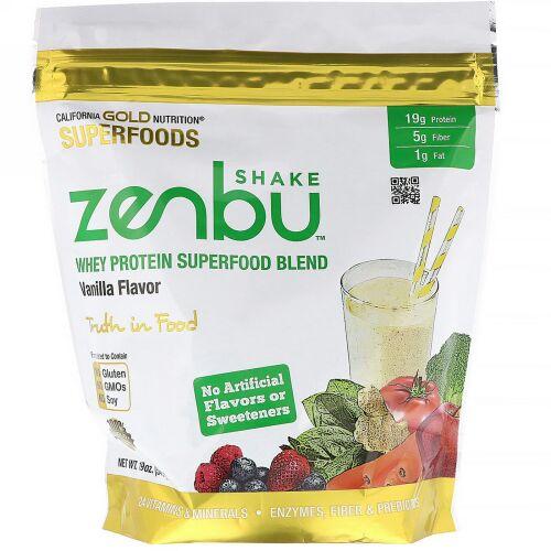 California Gold Nutrition, ゼンブシェイク、ホエイタンパク質スーパーフードブレンド、バニラ味、540 g(19 oz) (Discontinued Item)