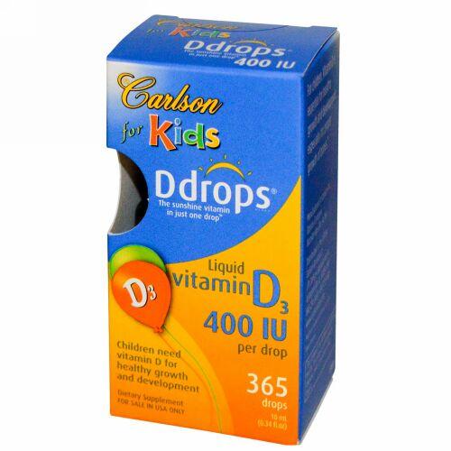 Carlson Labs, Ddrops, Liquid Vitamin D3, For Kids, 400 IU, 0.34 fl oz (10 ml) (Discontinued Item)