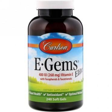 Carlson Labs, E-Gems Elite, Vitamin E with Tocopherols & Tocotrienols, 400 IU, 240 Soft Gels (Discontinued Item)