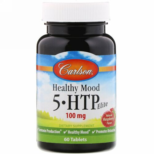 Carlson Labs, Healthy Mood, 5-HTP Elite, Natural Raspberry Flavor, 100 mg, 60 Tablets (Discontinued Item)