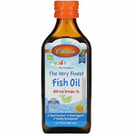 Carlson Labs, Kid's Norwegian, The Very Finest Fish Oil, Natural Orange Flavor, 800 mg, 6.7 fl oz (200 ml)
