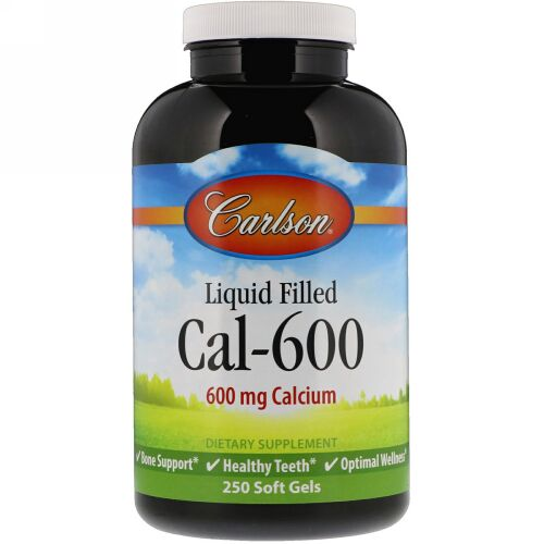 Carlson Labs, リキッド封入Cal-600、600 mg、250ソフトジェル (Discontinued Item)