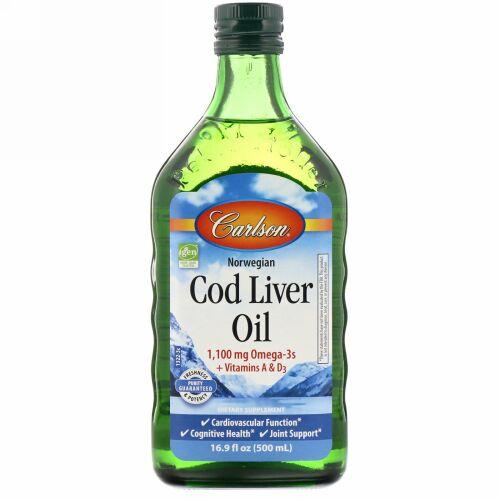 Carlson Labs, Norwegian Cod Liver Oil、レギュラー・無風味、16.9 fl oz (500 ml)