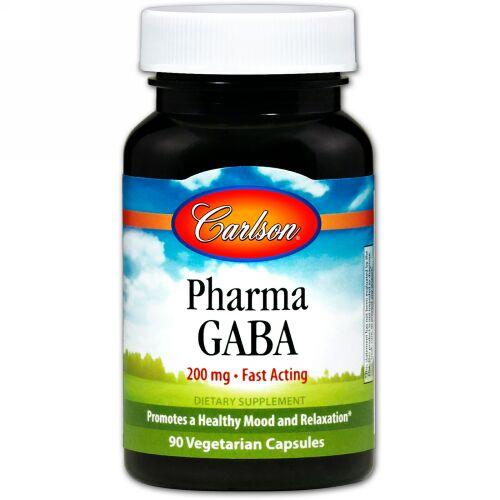 Carlson Labs, Pharma GABA、200 mg、ベジキャップ90粒 (Discontinued Item)