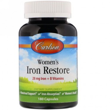Carlson Labs, Women's Iron Restore, 28 mg Iron + B Vitamins, 180 Capsules (Discontinued Item)