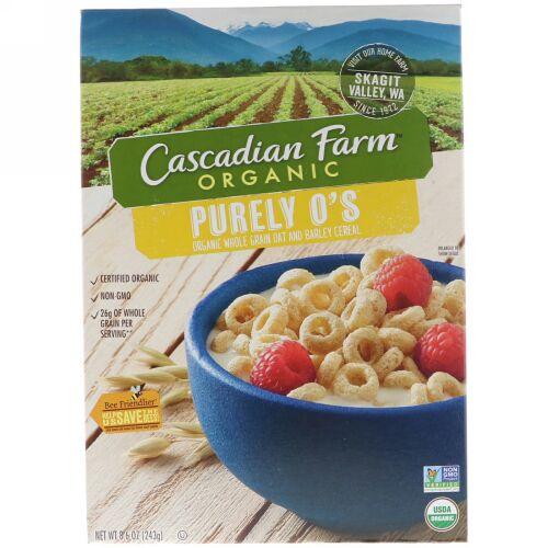 Cascadian Farm, ピュアリーO's、オーガニック・ホールグレインオーツ・大麦シリアル、8.6オンス(243 g) (Discontinued Item)