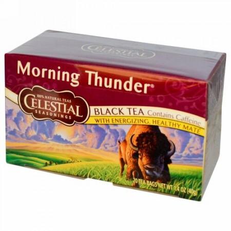 Celestial Seasonings, ブラックティー(紅茶)、モーニングサンダー、20ティーバッグ、1.4 oz (40 g) (Discontinued Item)