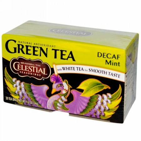 Celestial Seasonings, グリーンティー、ホワイトティー入り、カフェインレス ミント、20ティーバッグ、1.2 oz (34 g) (Discontinued Item)