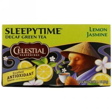 Celestial Seasonings, スリーピータイム・グリーンレモンジャスミン、カフェインフリー、20ティーバッグ、1.1 oz (31 g)