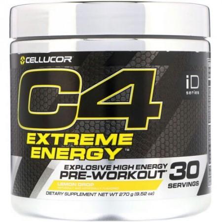 Cellucor, C4エクストリームエネルギー、プレワークアウト、レモンドロップ、9.52オンス (270 g) (Discontinued Item)