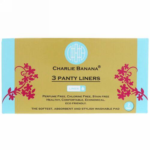 Charlie Banana, パンティライナー, ホワイト, 3ライナー + 1トートバッグ (Discontinued Item)