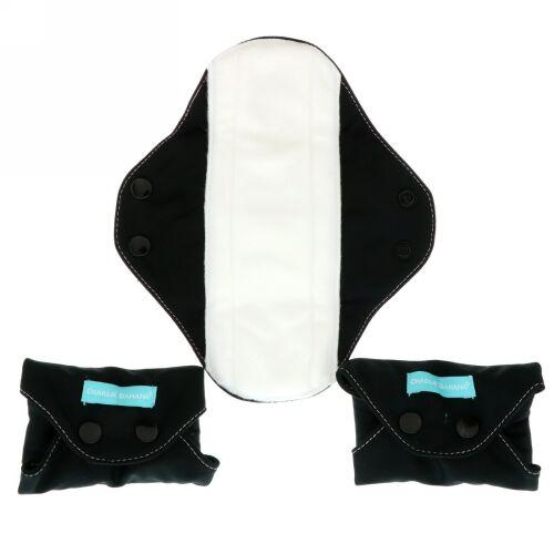 Charlie Banana, Regular Feminine Pads, Black, 3 Pads + 1 Tote Bag (Discontinued Item)