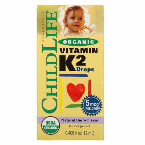 ChildLife, オーガニック、ビタミンK2ドロップ、天然ベリー味、0.406 fl oz (12 ml)