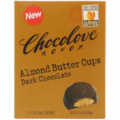 Chocolove, アーモンドバターカップ、ダークチョコレート、2カップ入り x 12パック、各1.2 オンス(34 g) (Discontinued Item)