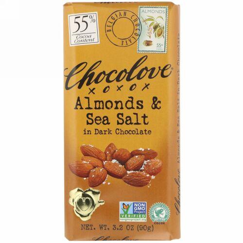Chocolove, アーモンド&シーソルト入りダークチョコレート、カカオ55%、90g(3.2オンス)