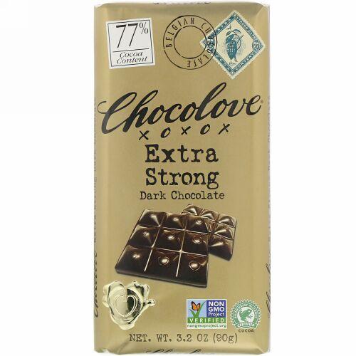 Chocolove, エクストラストロングダークチョコレート、カカオ77%、90g(3.2オンス)