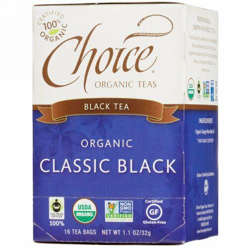 Choice Organic Teas, オーガニック クラシックブラック ティー、 16ティーバッグ、 1.1 oz (32 g) (Discontinued Item)