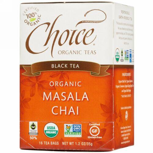 Choice Organic Teas, 紅茶, オーガニック マサラ・チャイ, 16 ティーバッグ, 1.2 オンス (35 g) (Discontinued Item)