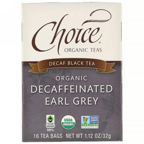 Choice Organic Teas, 紅茶、オーガニックノンカフェインアールグレイ、ノンカフェイン、ティーバッグ16個、32g(1.12オンス)