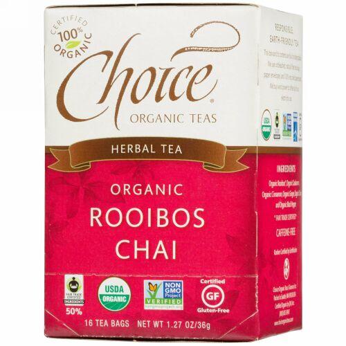 Choice Organic Teas, ハーブティー, オーガニック, ルイボスチャイ, カフェインフリー, 16ティーバッグ, 1.27オンス(36 g) (Discontinued Item)