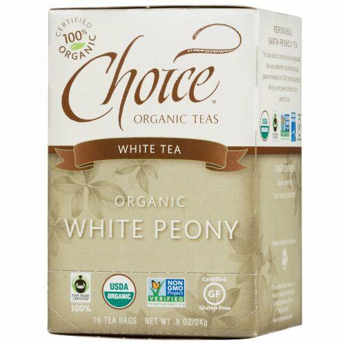 Choice Organic Teas, オーガニック, 白牡丹, 白茶, 16ティーバッグ, 0.8オンス(24 g) (Discontinued Item)